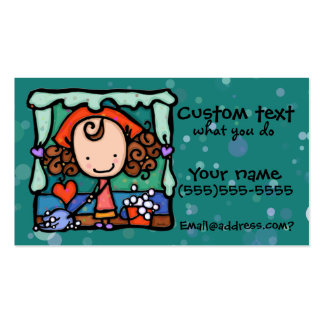 LittleGirlie promotes her cleaning business! TEAL Business Card Templates