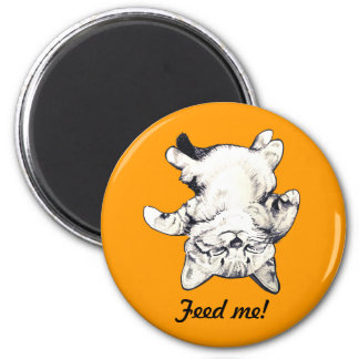 "LittlePixyBoots - ""Feed Me"" Cat orange Magnet"