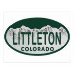 Littleton license oval postcard