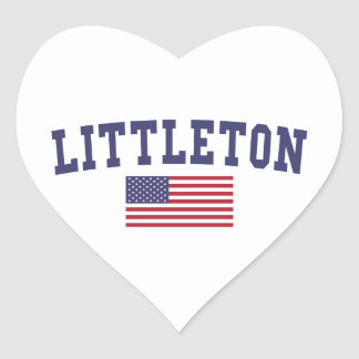 Littleton US Flag Heart Sticker