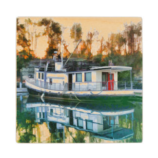 Live Aboard Boat Wood Coaster