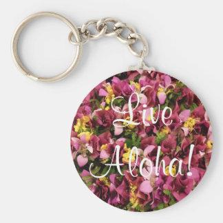 Live Aloha Hawaiian Flower Keychain Round