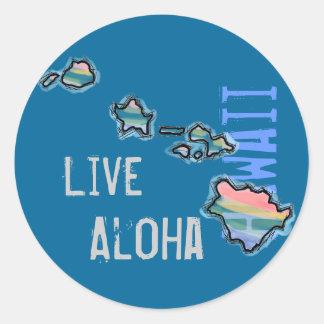 Live Aloha Hawaiian island stickers