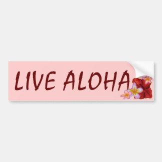 Live Aloha pink Hawaiian floral bumpersticker Car Bumper Sticker
