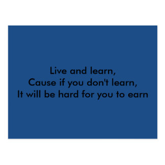 Live and Learn Postcard