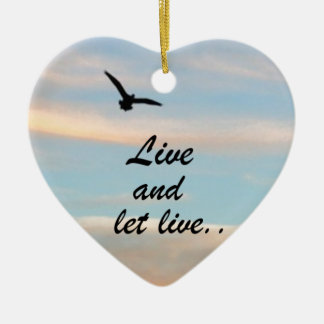 Live and Let Live Double-Sided Heart Ceramic Christmas Ornament