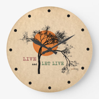 Live and Let Live (Recovery Silhouettes) Large Clock
