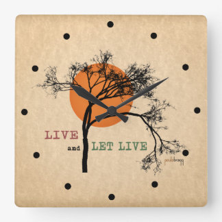 Live and Let Live (Recovery Silhouettes) Square Wall Clock