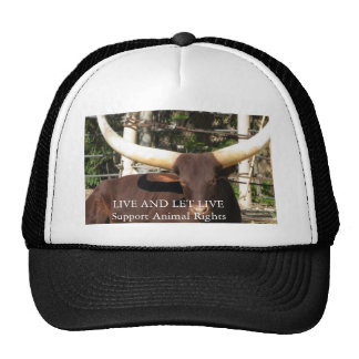 LIVE AND LET LIVE SUPPORT ANIMAL RIGHTS HAT