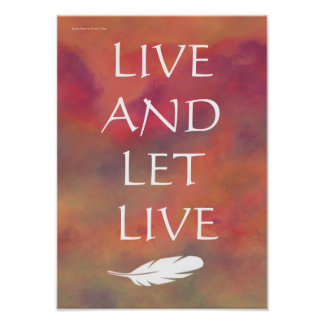 Live and Let Live White Feather Orange Sky Print