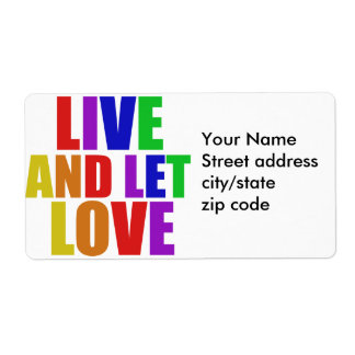Live and Let Love gay rainbow Label