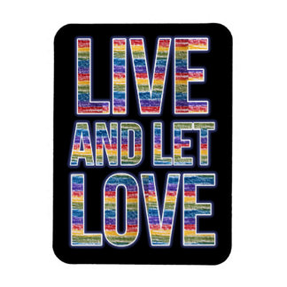 Live and let love rainbow rectangular photo magnet