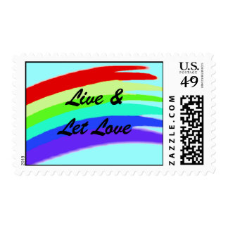 Live and let love rainbow stamp