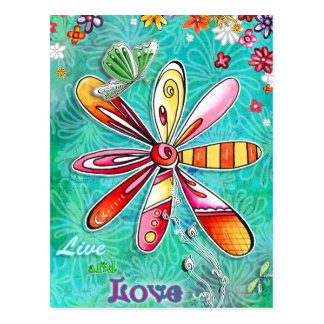 Live and Love Floral Postcard