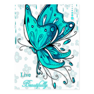 Live Beautifully Teal Butterfly Postcard