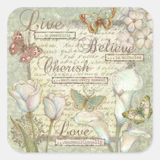 Live Believe Cherish Square Sticker