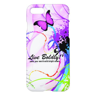 Live Boldly Pink Butterfly Inspirational Custom iPhone 7 Case