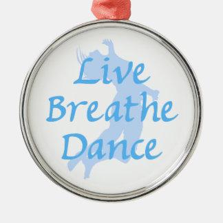 Live Breathe Dance Round Metal Christmas Ornament