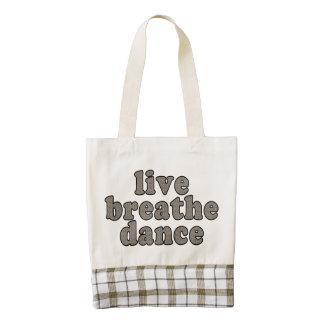 live breathe dance zazzle HEART tote bag
