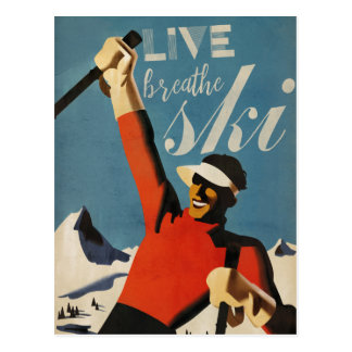 Live breathe ski postcard