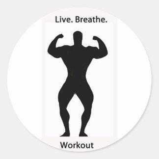 Live. breathe. workout classic round sticker
