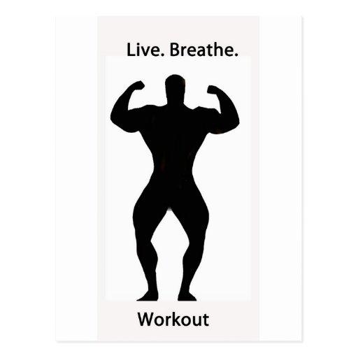Live. breathe. workout postcard