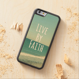 Live by Faith Bible Verse Carved® Maple iPhone 6 Bumper