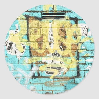 Live colorfully. Aqua Blue Graffiti Classic Round Sticker