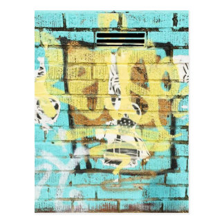 Live colorfully. Aqua Blue Graffiti Postcard