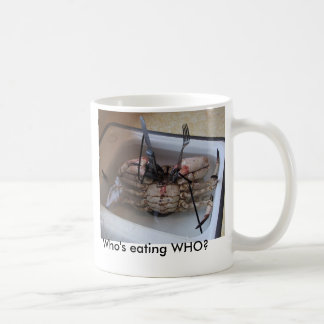 LIVE CRAB with Fork & Knife! Who's eating WHO? Classic White Coffee Mug