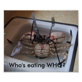 Live CRAB with Fork & Knife! Who's eating WHO? Poster