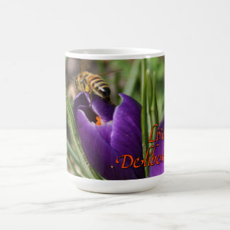 Live Deliberately w/honey bee pollinating Crocus Coffee Mug