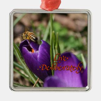 Live Deliberately w/honey bee pollinating Crocus Christmas Tree Ornaments