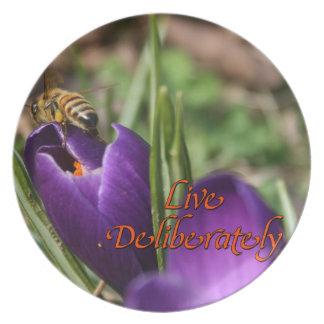 Live Deliberately w/honey bee pollinating Crocus Plate