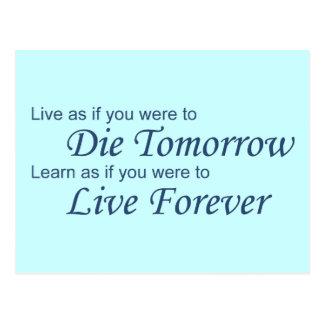 Live - Die Tomorrow blue Postcard