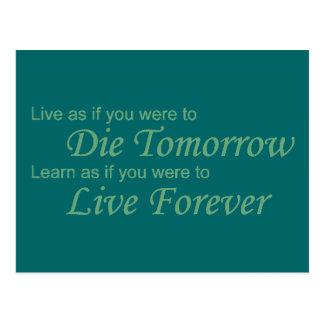 Live - Die Tomorrow green Postcard