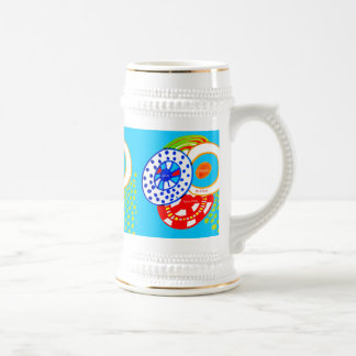 Live Dream Be Crazy Have Fun Colorful Doodle Beer Stein
