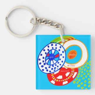 Live Dream Be Crazy Have Fun Colorful Doodle Keychain