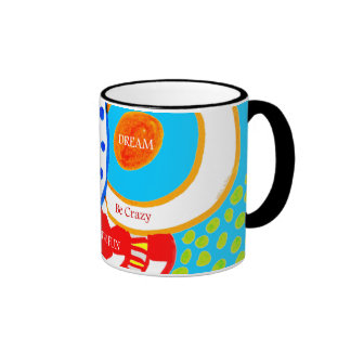 Live Dream Be Crazy Have Fun Colorful Doodle Ringer Coffee Mug