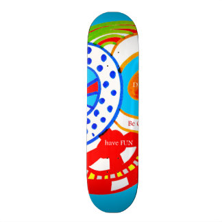 Live Dream Be Crazy Have Fun Colorful Doodle Skateboard