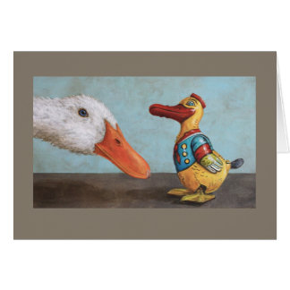 live duck and antique toy duck card