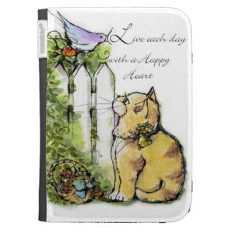 Live each day with a happy heart Tabby Cat & Bird Kindle Keyboard Covers