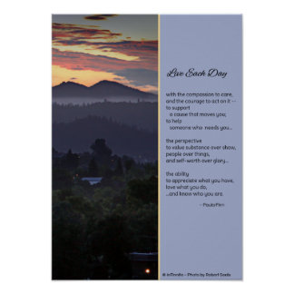 Live each day with compassion Poster