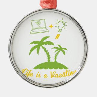 Live es vacaciones adorno redondo plateado