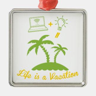 Live es vacaciones adorno cuadrado plateado
