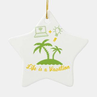 Live es vacaciones adorno de cerámica en forma de estrella