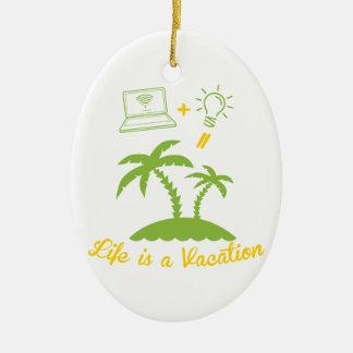 Live es vacaciones adorno ovalado de cerámica