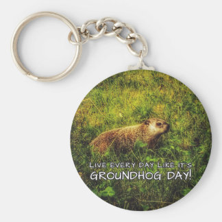 Live every day like it's Groundhog Day! keychain