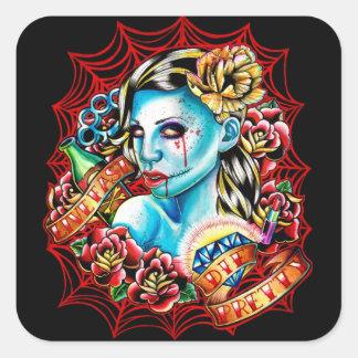 Live Fast, Die Pretty by Carissa Rose Square Sticker