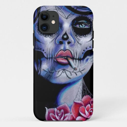 Live Fast Die Young Day of the Dead Portrait Phone Case